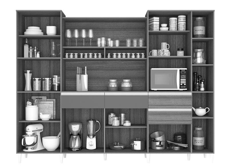 Armário de Cozinha Croácia 2.6 Noce com Ravena - CSA Móveis
