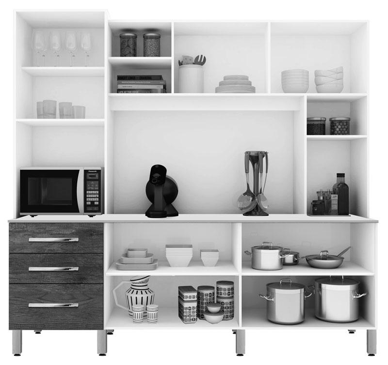Armário de Cozinha Holanda 2.2 Branco com Ferrara - CSA Móveis