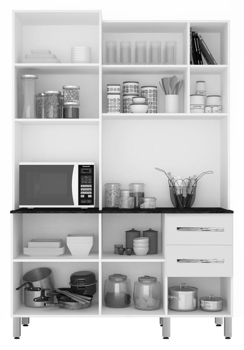 Cozinha Compacta Marrocos 1.4 Noce com Ravena - CSA Móveis