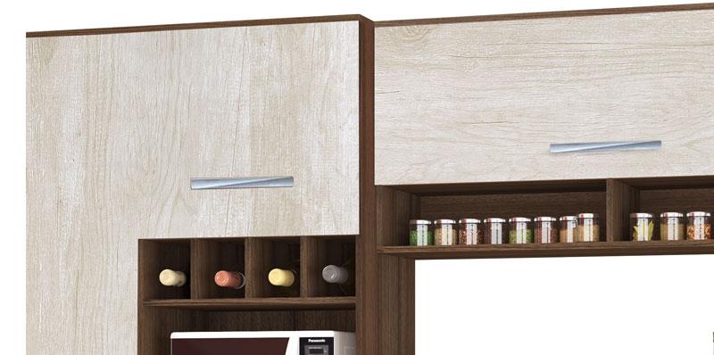 Armário de Cozinha Tóquio 2.7 Paneleiro Duplo Noce com Ravena - CSA Móveis