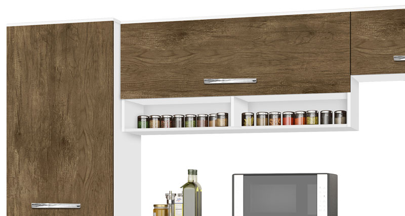 Armario de Cozinha Toquio 2.4 Paneleiro Simples Branco com Ferrara - CSA Moveis