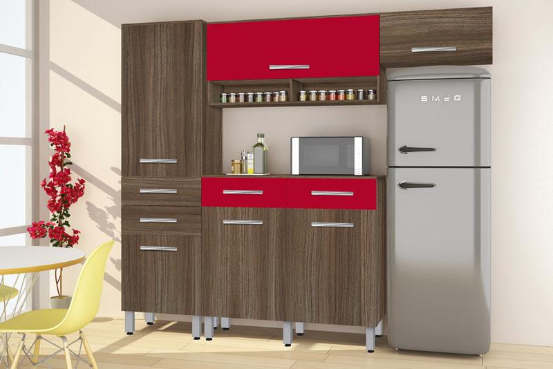 Armário de Cozinha Tóquio 2.4 Paneleiro Simples Noce com Vermelho - CSA Móveis