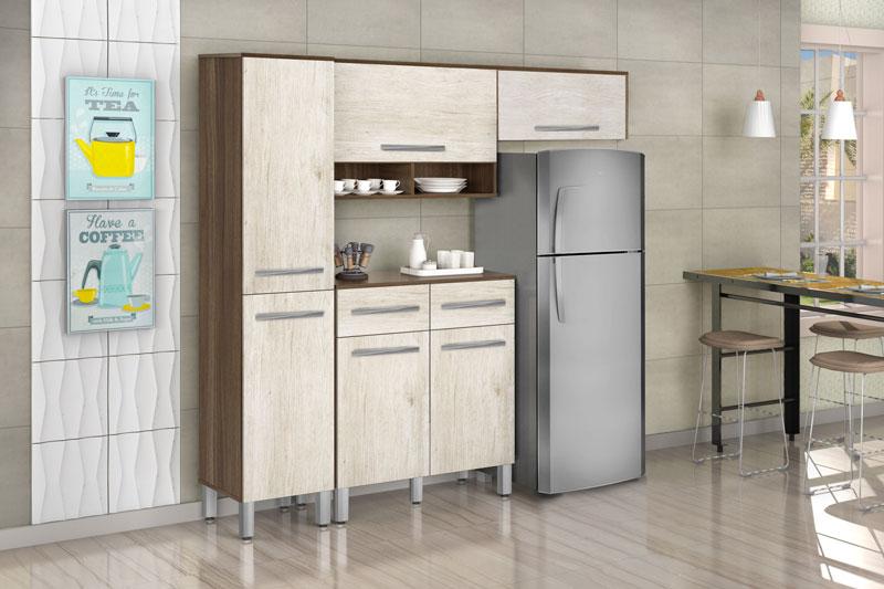 Armário de Cozinha Tóquio 1.9 Plus Noce com Ravena - CSA Móveis