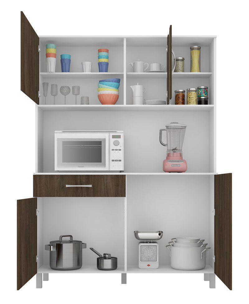 Cozinha Viena Plus 1.2 Branco com Carvalho - Madine