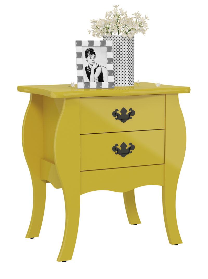 Criado Mudo Bombe Premier Amarelo - Patrimar Móveis  - MoveisAqui - Loja de móveis online!