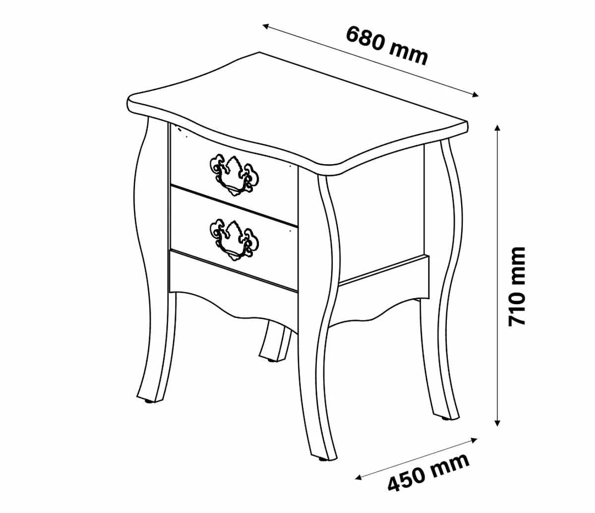 Mesa de Cabeceira Bombe Premier Branco com Cumarú - Patrimar Móveis