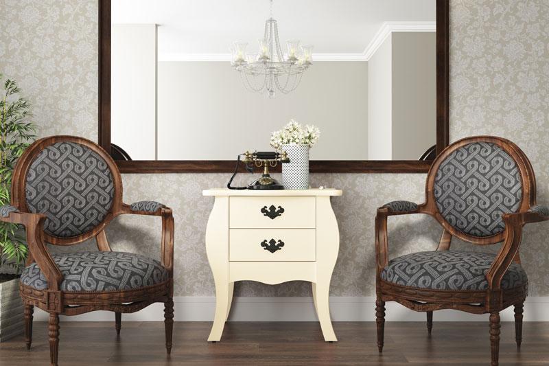 Criado Mudo Bombe Premier Off White - Patrimar Móveis  - MoveisAqui - Loja de móveis online!