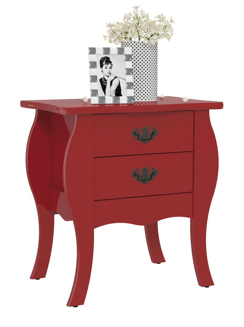 Criado Mudo Bombe Premier Vermelho - Patrimar Móveis  - MoveisAqui - Loja de móveis online!