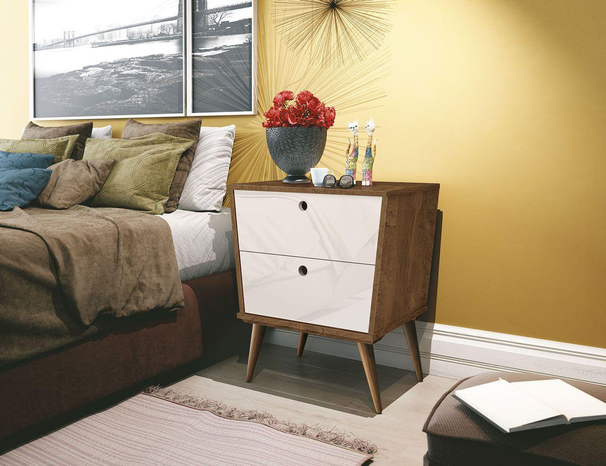 Mesa de Cabeceira Dream Naturale com Off White - EDN Móveis