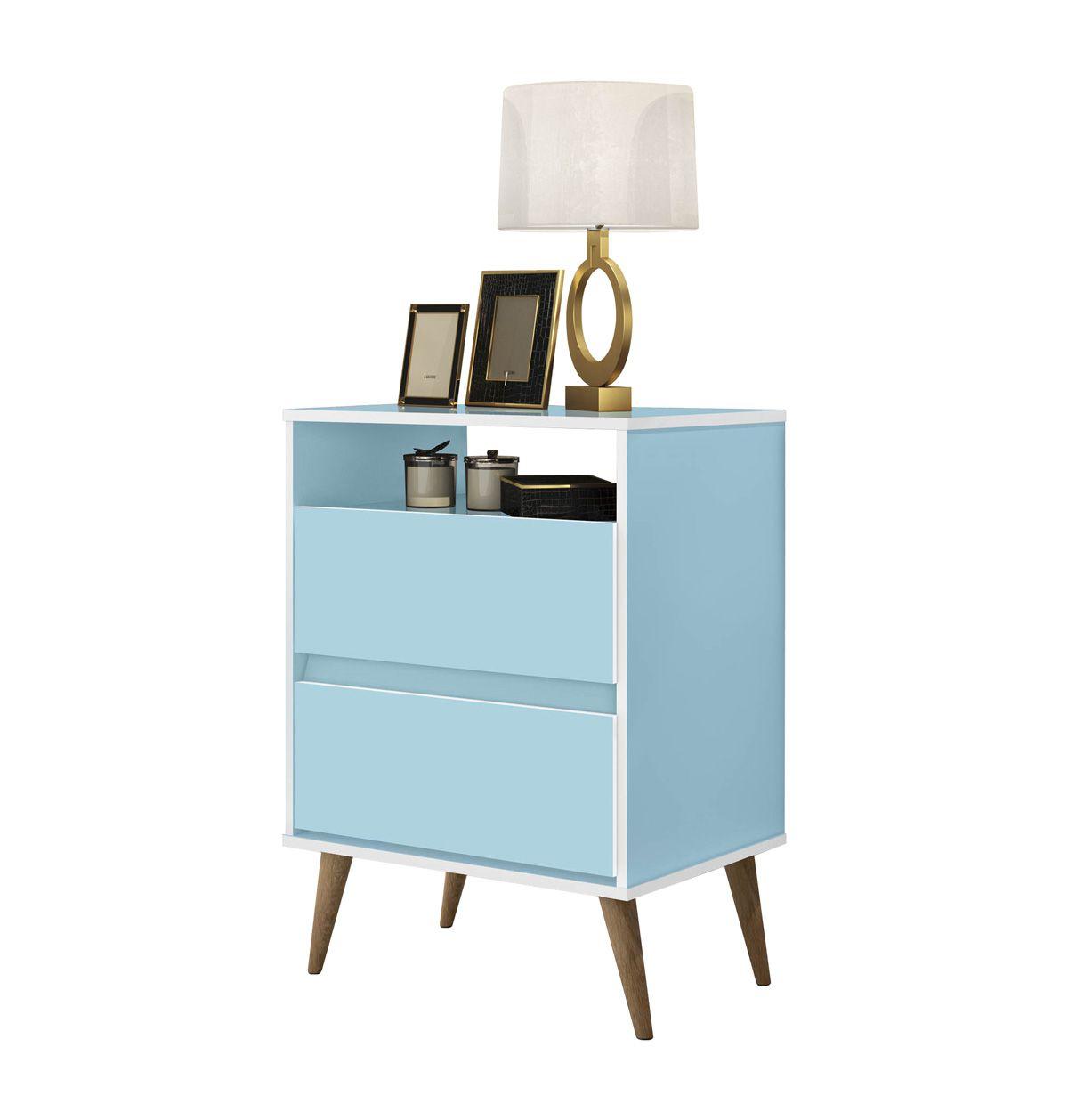 Mesa de Cabeceira Retrô Lótus 2 Gavetas Azul - JeA Móveis