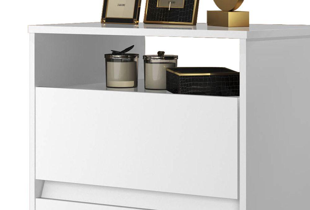 Mesa de Cabeceira Retrô Lótus 2 Gavetas Branco - JeA Móveis