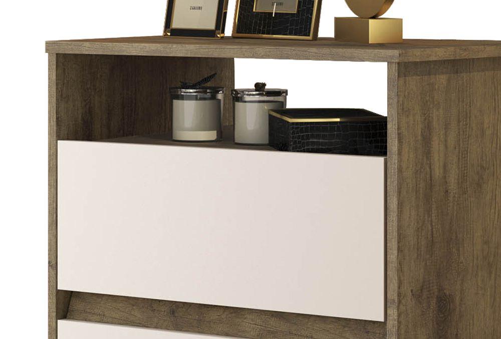 Mesa de Cabeceira Retrô Lótus 2 Gavetas Jequitibá com Off White - JeA Móveis