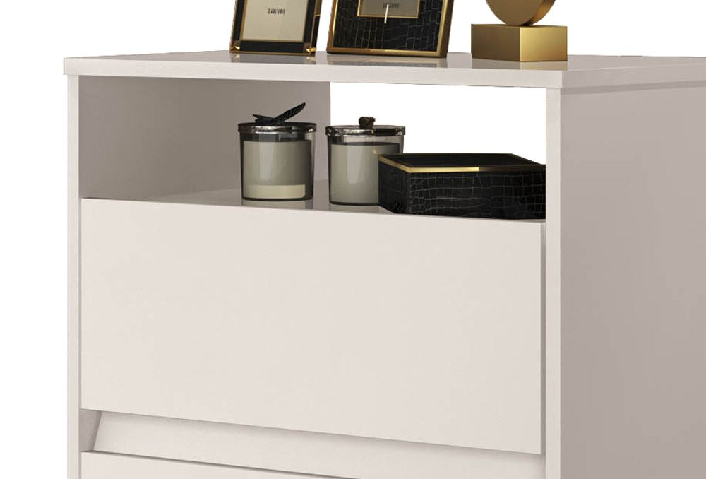 Mesa de Cabeceira Retrô Lótus 2 Gavetas Off White - JeA Móveis
