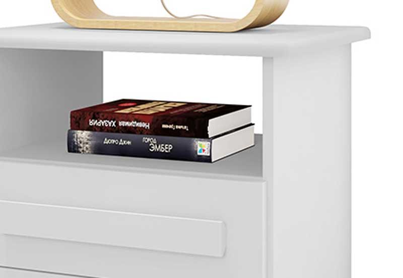 Mesa de Cabeceira Turim 3 Gavetas Branco - RV Móveis