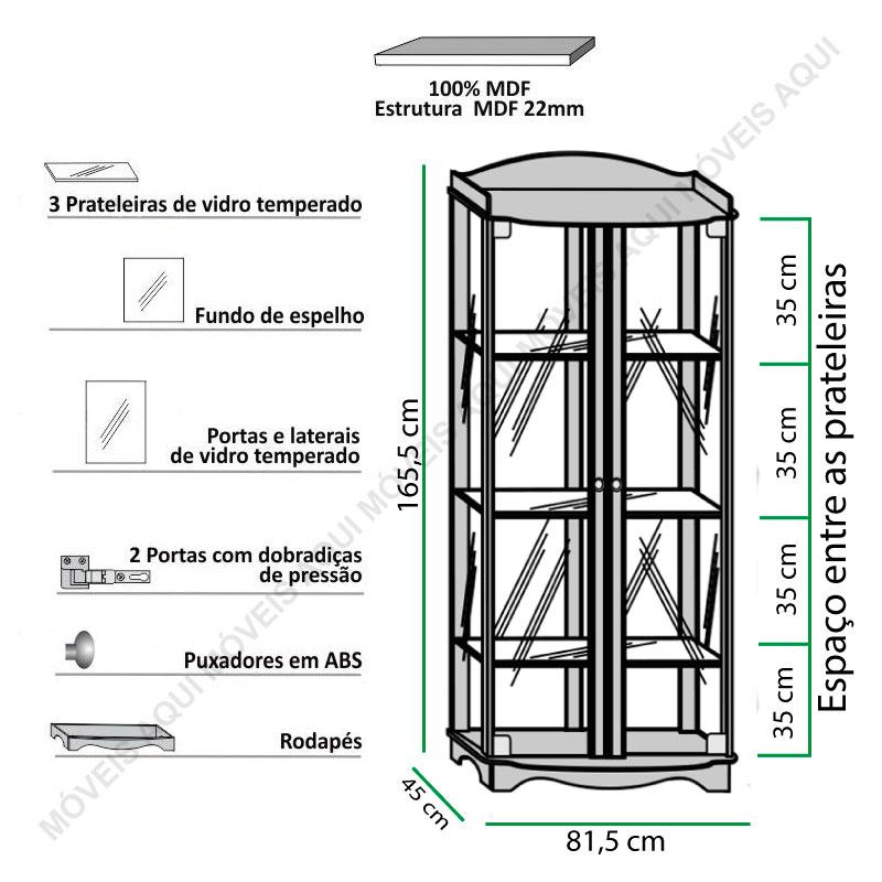 Cristaleira Charme Imcal - Castanho