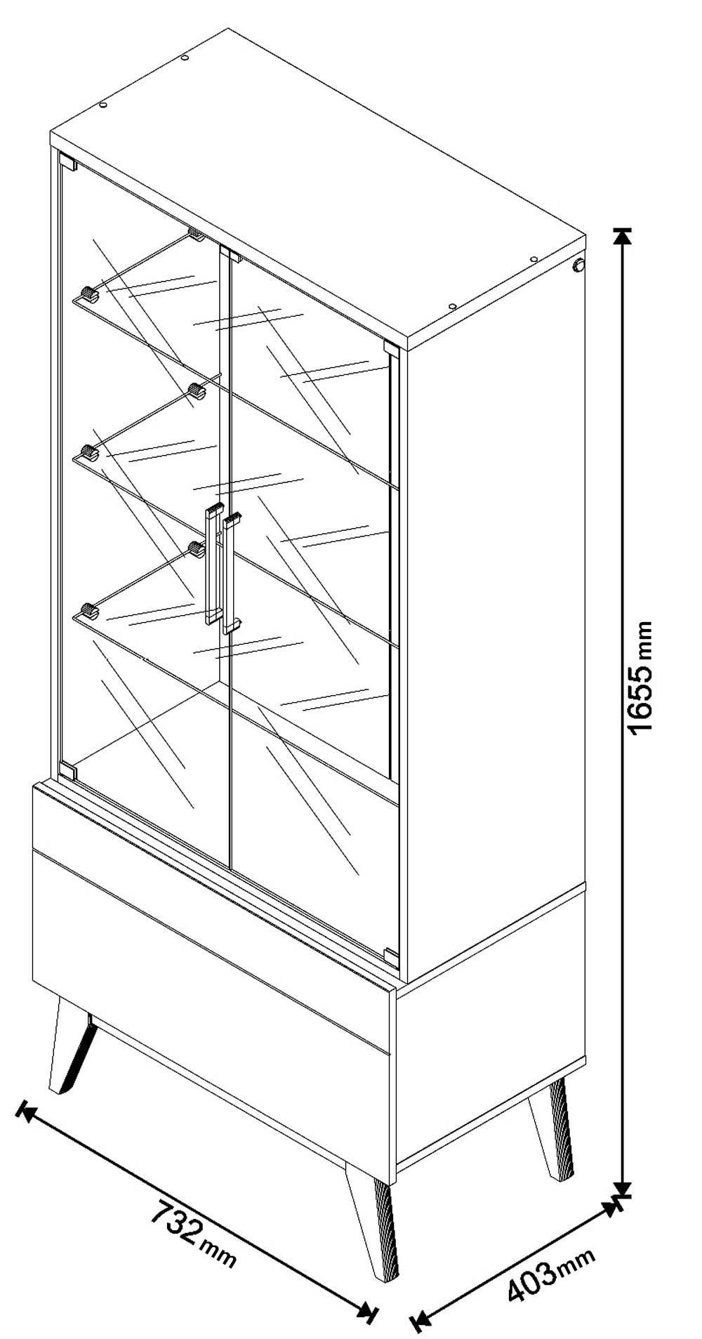 Cristaleira Classic 1G Freijó - Imcal Móveis