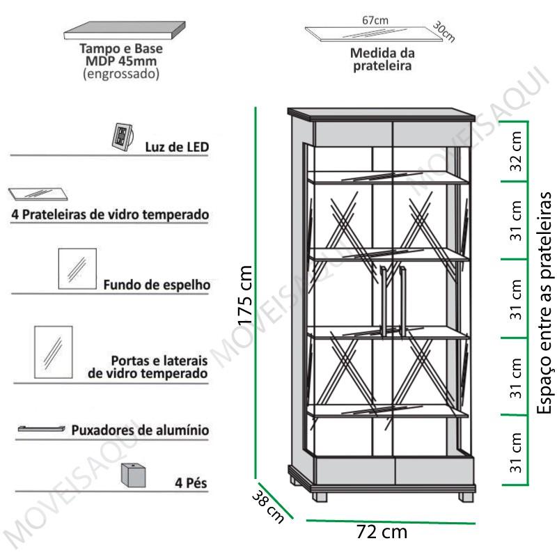 Cristaleira Cristal Imcal - Castanho Tx