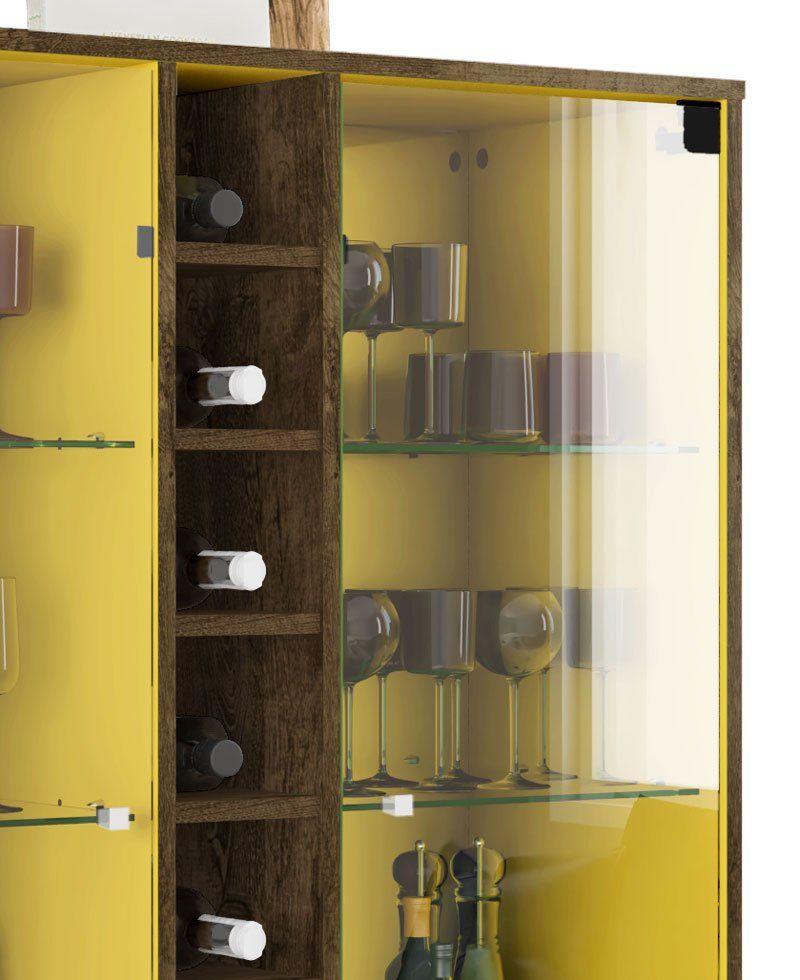 Cristaleira Módena Madeira Rústica com Amarelo - Móveis Bechara