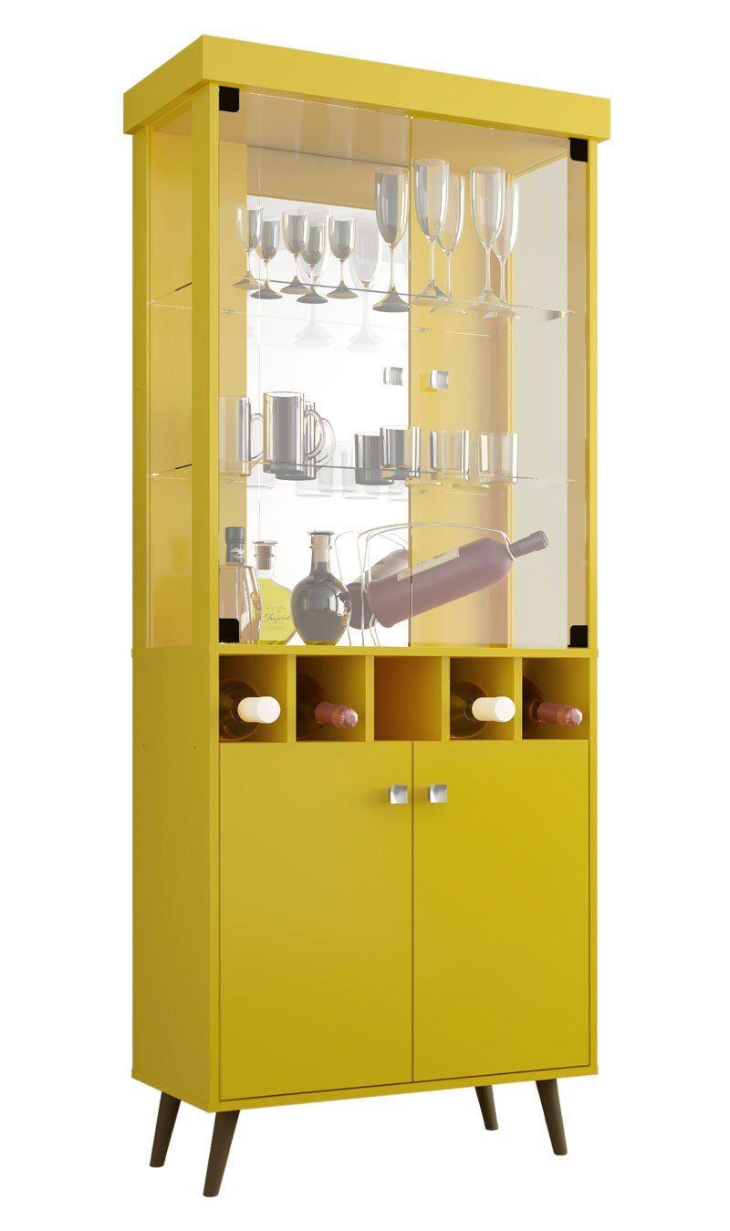 Cristaleira Monza II Amarelo - Móveis Bechara