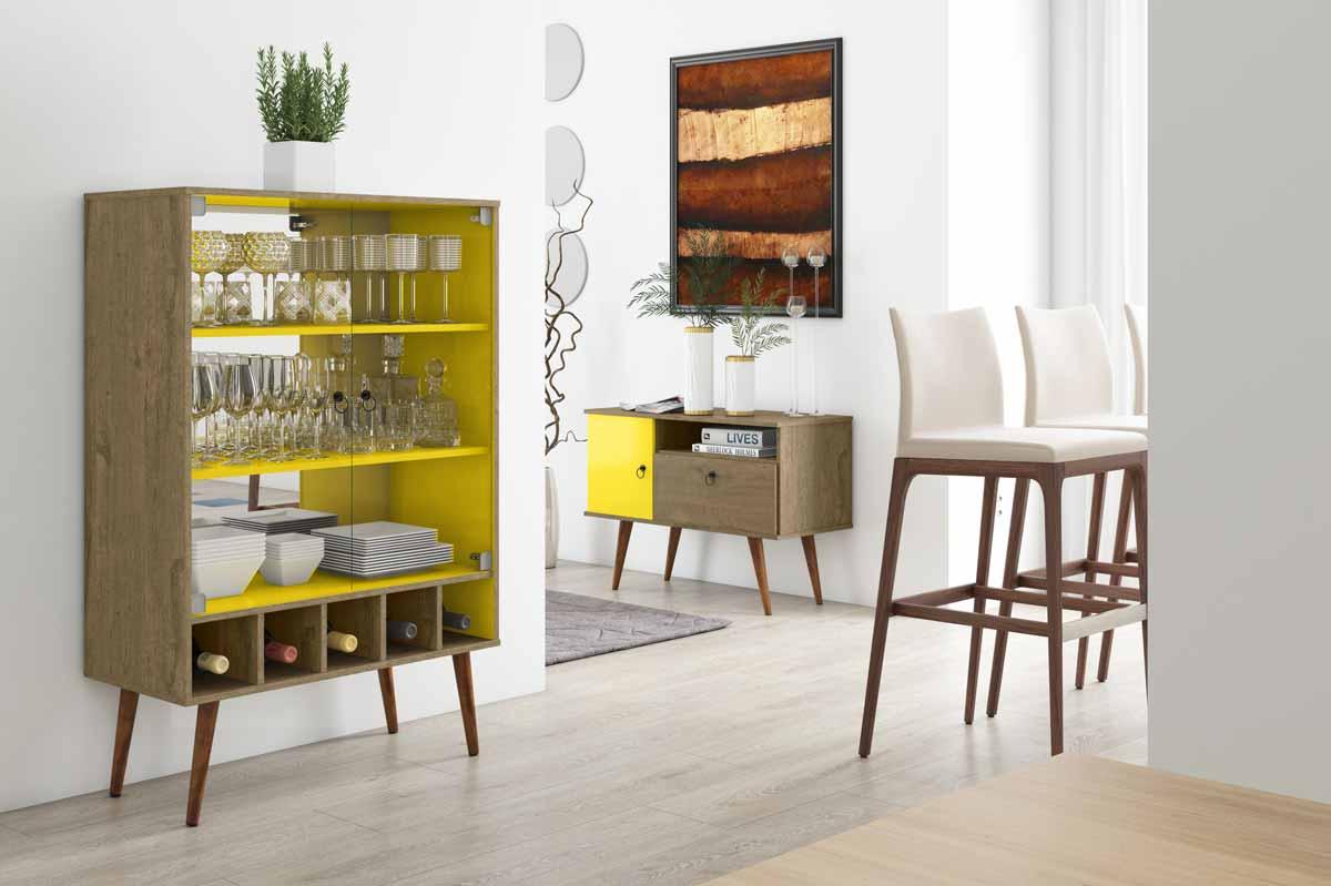 Cristaleira Veneza Demolição com Amarelo - Patrimar Móveis