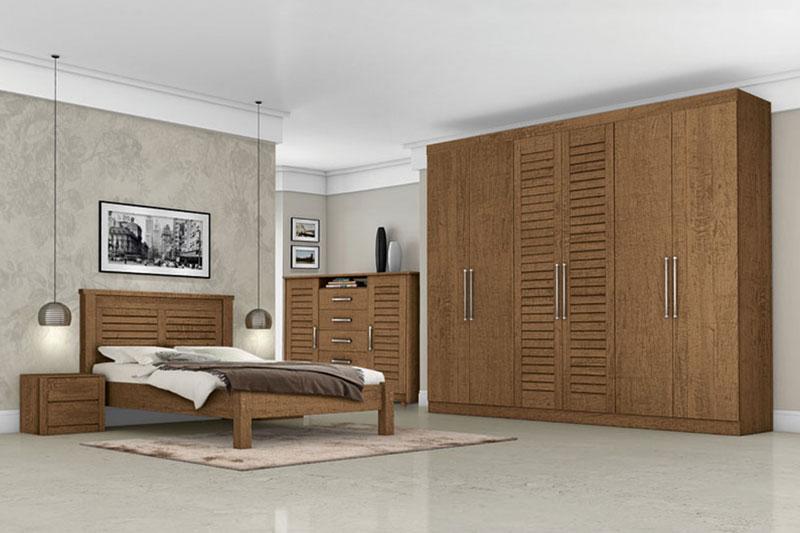 Dormitorio Completo Casal Montreal Carvalho - Tebarrot Móveis