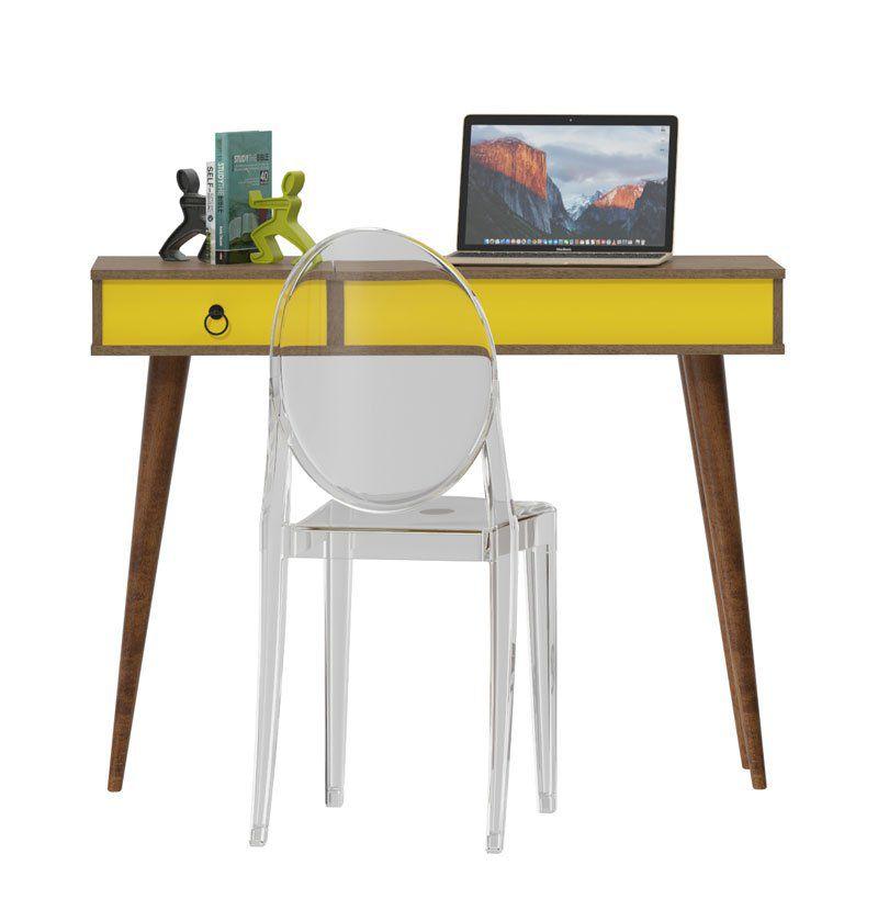 Escrivaninha Multifuncional Demolição com Amarelo - Patrimar Móveis