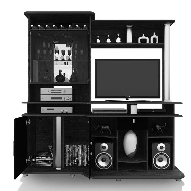 Estante para Sala JB 3040 Teka com Preto - JB Bechara  - MoveisAqui - Loja de móveis online!