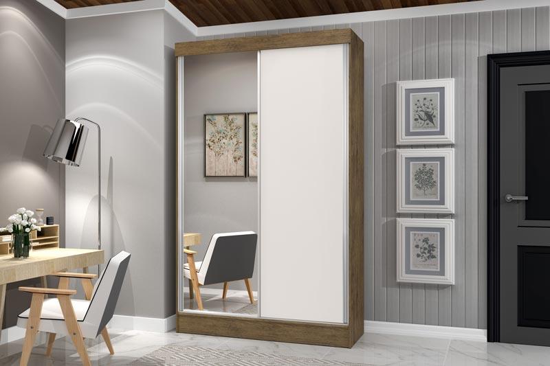 Guarda-Roupa 2 Portas de Correr com Espelho Geórgia Plus Jequitibá com Off White - JeA Móveis