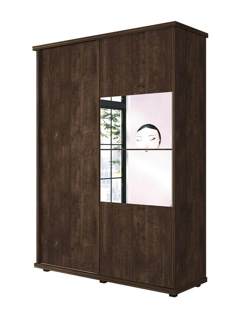 Guarda Roupa 2 Portas de Correr com espelhos Ágata Noce - FabriMóveis
