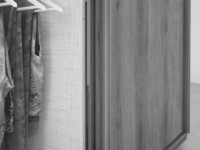 Guarda Roupa 2 Portas de Correr com espelhos Agata Noce - FabriMoveis