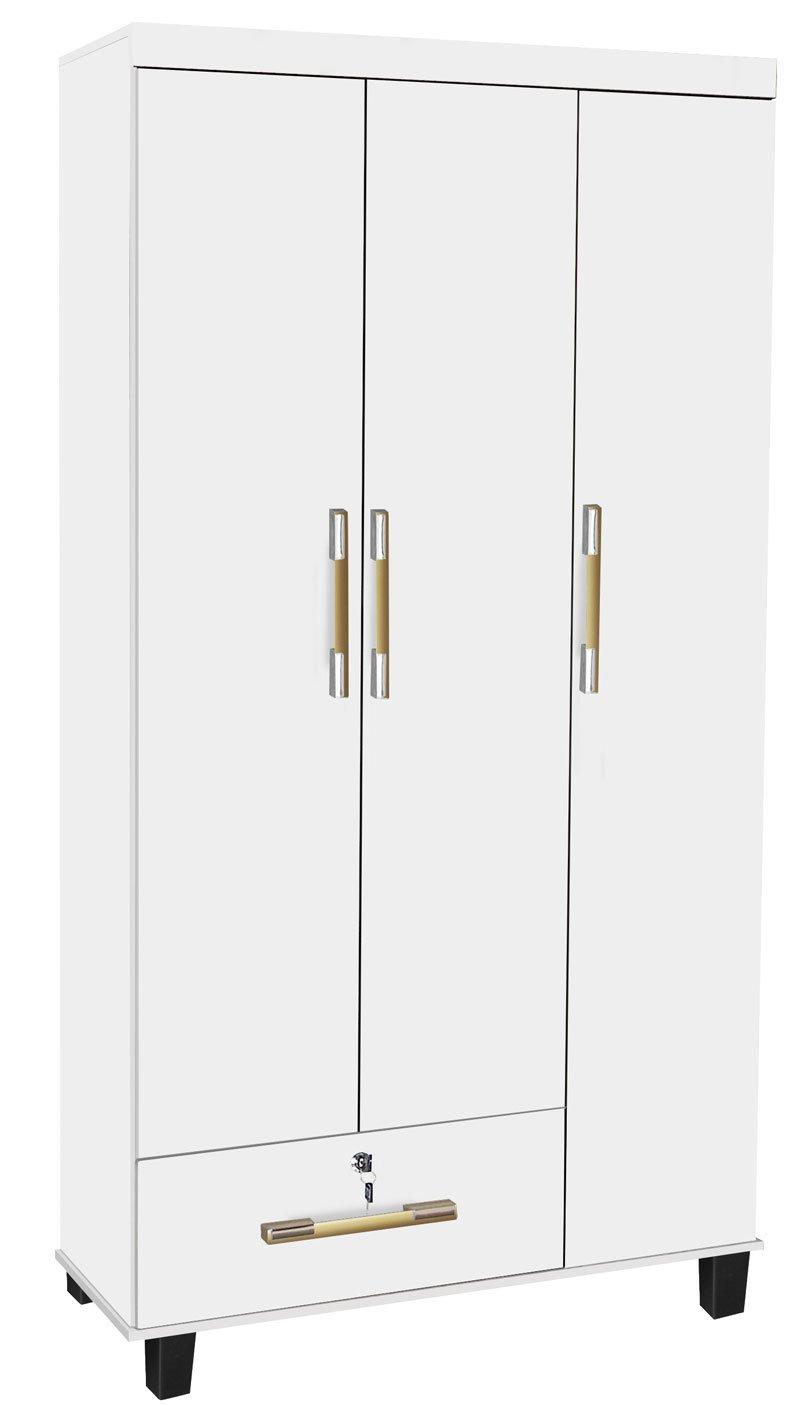 Guarda Roupa 3 Portas Branco Brilho - Trinobél Móveis