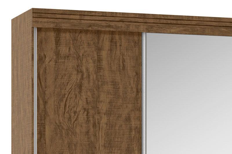 Guarda-Roupa 3 Portas de Correr com Espelho Mustang Castanho - Fênix