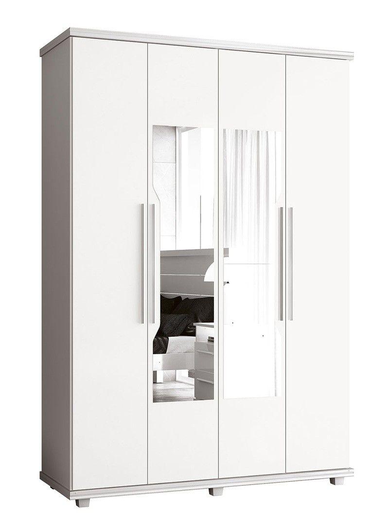 Guarda-Roupa 4 Portas Ágata com espelho Branco - FabriMóveis