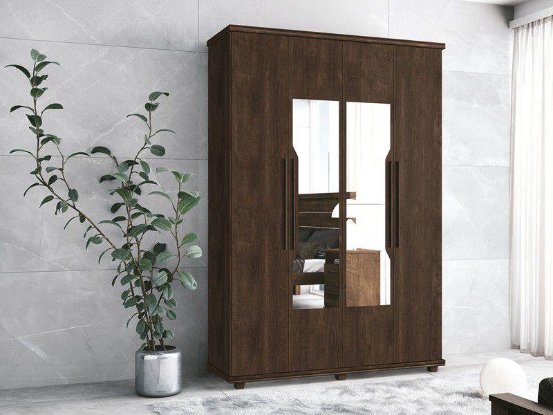 Guarda-Roupa 4 Portas Ágata com espelho Noce - FabriMóveis