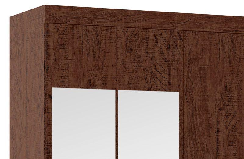 Guarda-Roupa 4 Portas com Espelho Jaguar Pinhão - Fênix