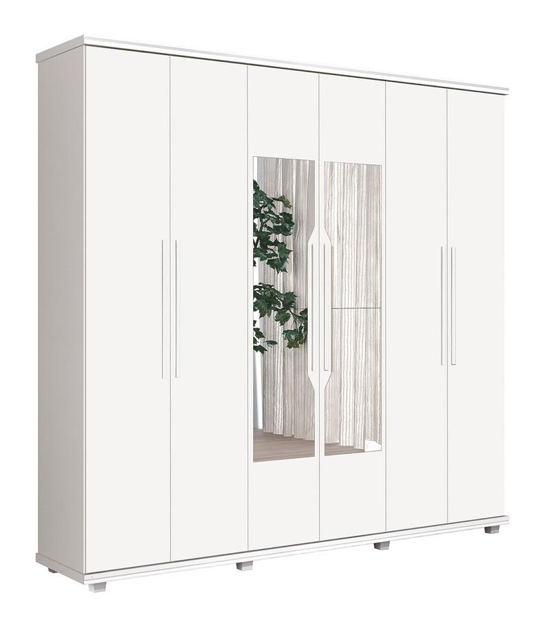 Guarda Roupa 6 Portas Ágata com espelho Branco - FabriMóveis