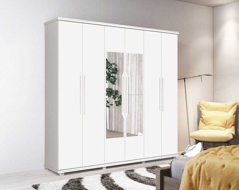 Guarda-Roupa 6 Portas Ágata com espelho Branco - FabriMóveis