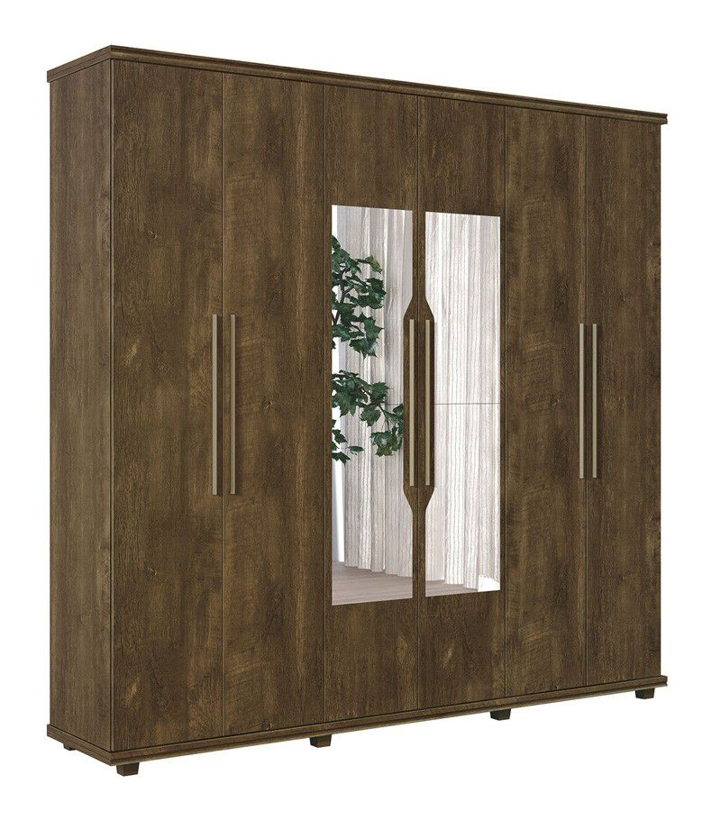 Guarda-Roupa 6 Portas Ágata com espelho Imbuia - FabriMóveis