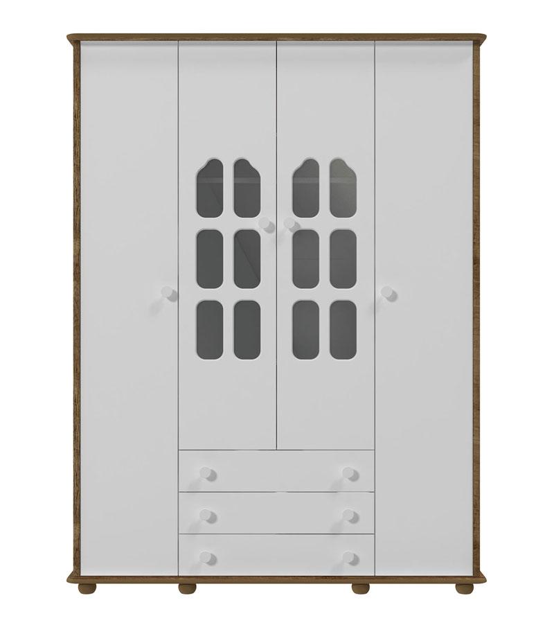 Guarda-Roupa Amore 4 Portas Branco Fosco com Teka - Matic Móveis
