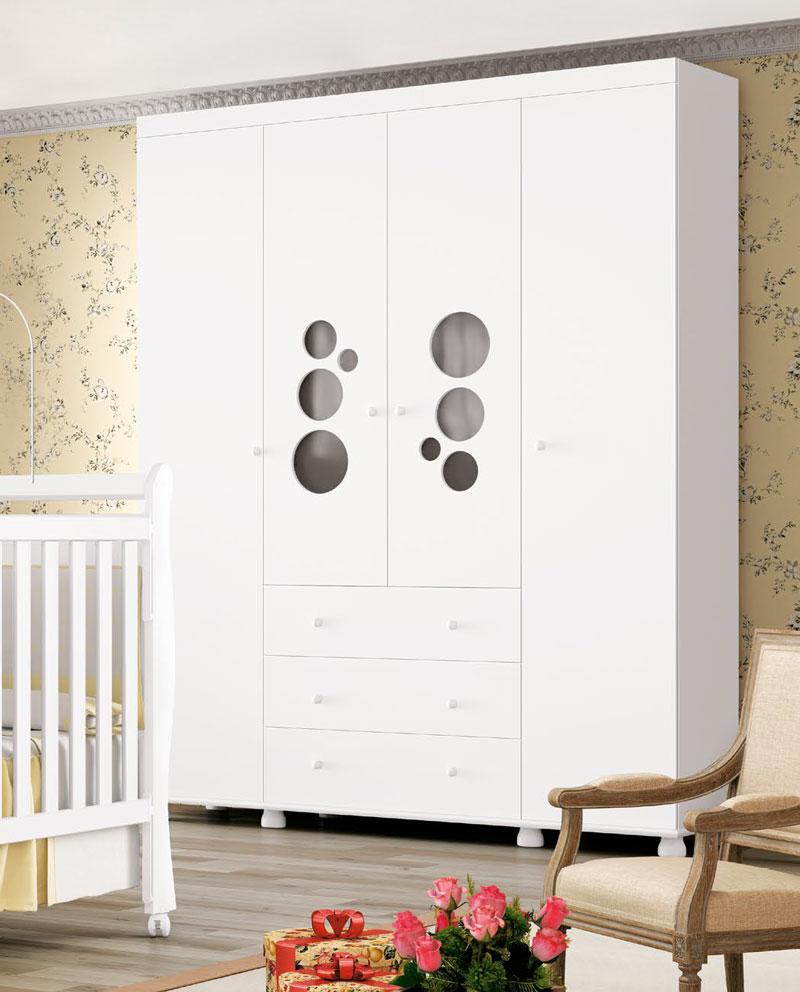 Guarda Roupa Baby 4 Portas Branco Brilho - Imaza Móveis