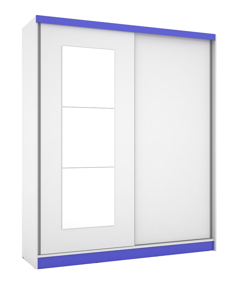 Guarda Roupa Blumenau Plus III com espelho Branco com Azul - Mirarack