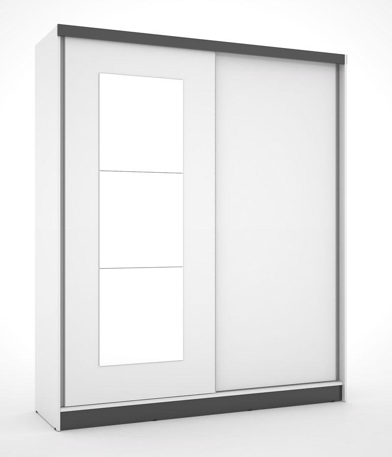 Guarda Roupa Blumenau Plus III com espelho Branco com Preto - Mirarack