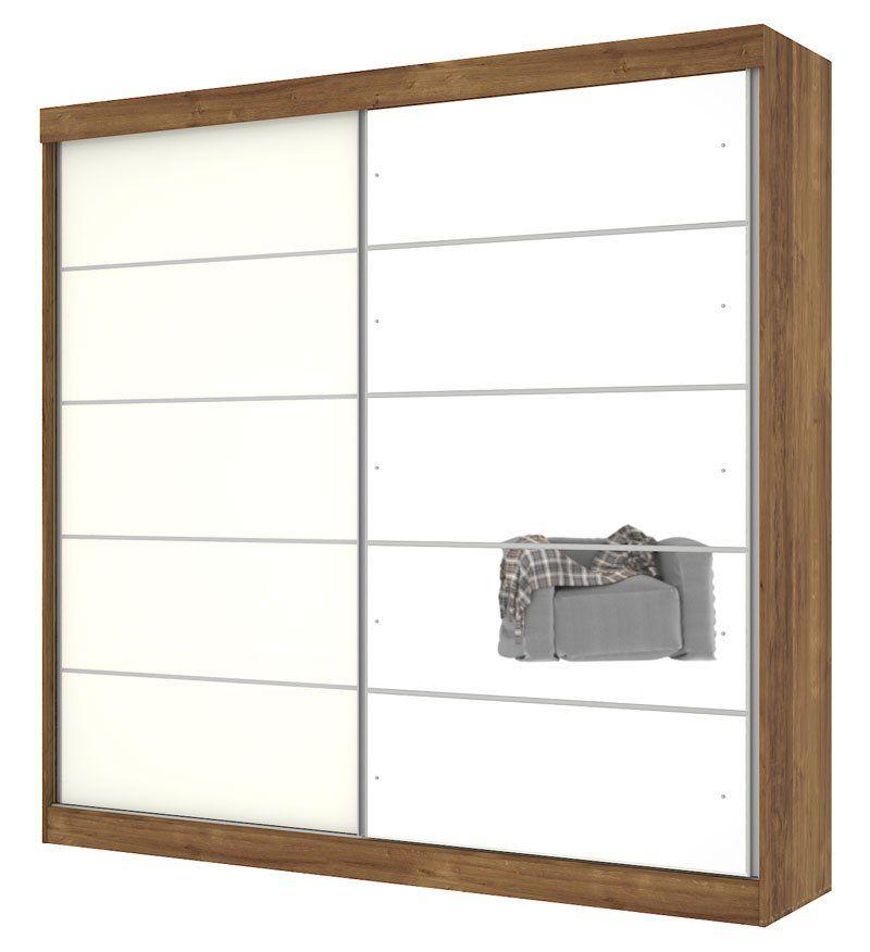 Guarda-Roupa Camboriu com Espelho Canela com Off White - Mirarack