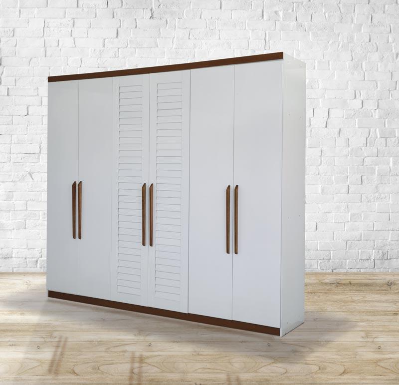 Guarda-Roupa Casal 6 Portas Columbia Branco com Madeira - Tebarrot Móveis