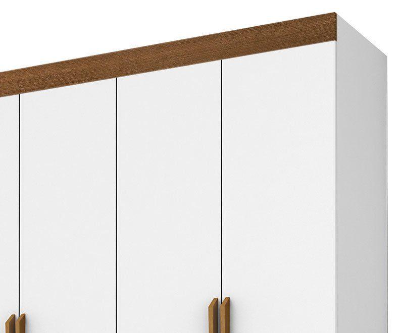 Guarda-Roupa Casal 6 Portas Lucca Branco com Madeira - Tebarrot Móveis