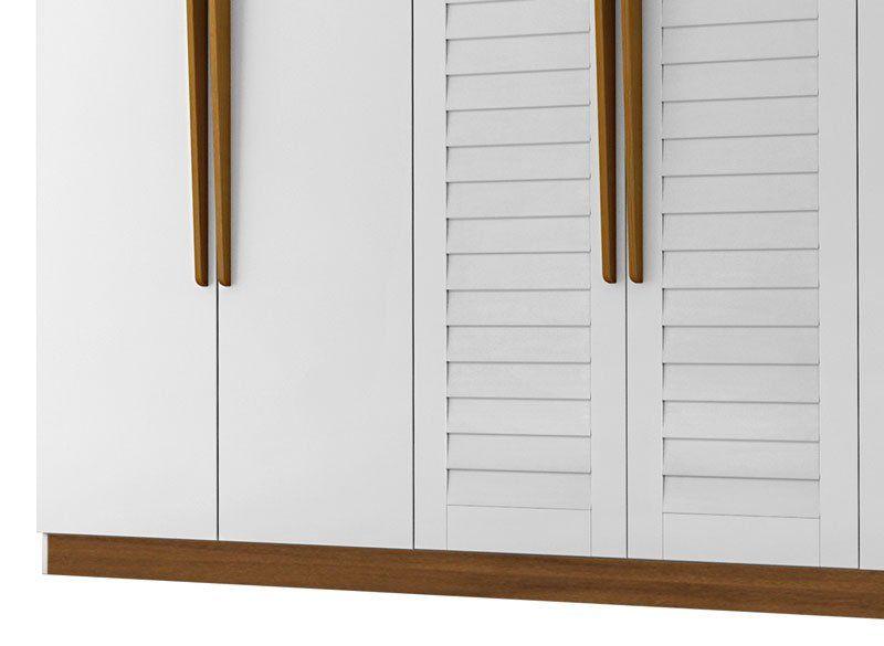 Guarda-Roupa Casal 6 Portas Montreal Branco com Madeira - Tebarrot Móveis