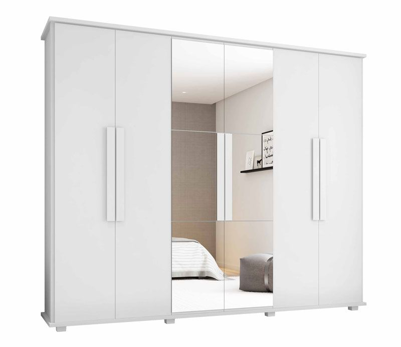 Guarda-Roupa Casal Branco com Espelho 6 Portas 4 Gavetas Canadá - RV Móveis