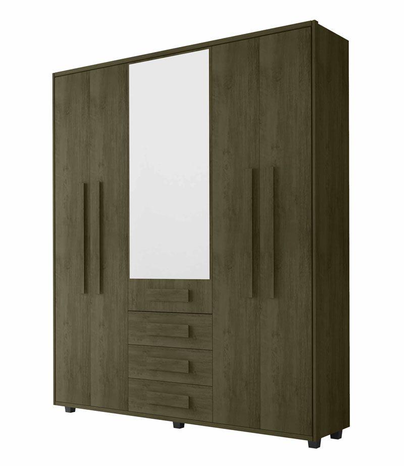 Guarda-Roupa Casal com Espelho 5 Portas 3 Gavetas Las Vegas III Imbuia - RV Móveis