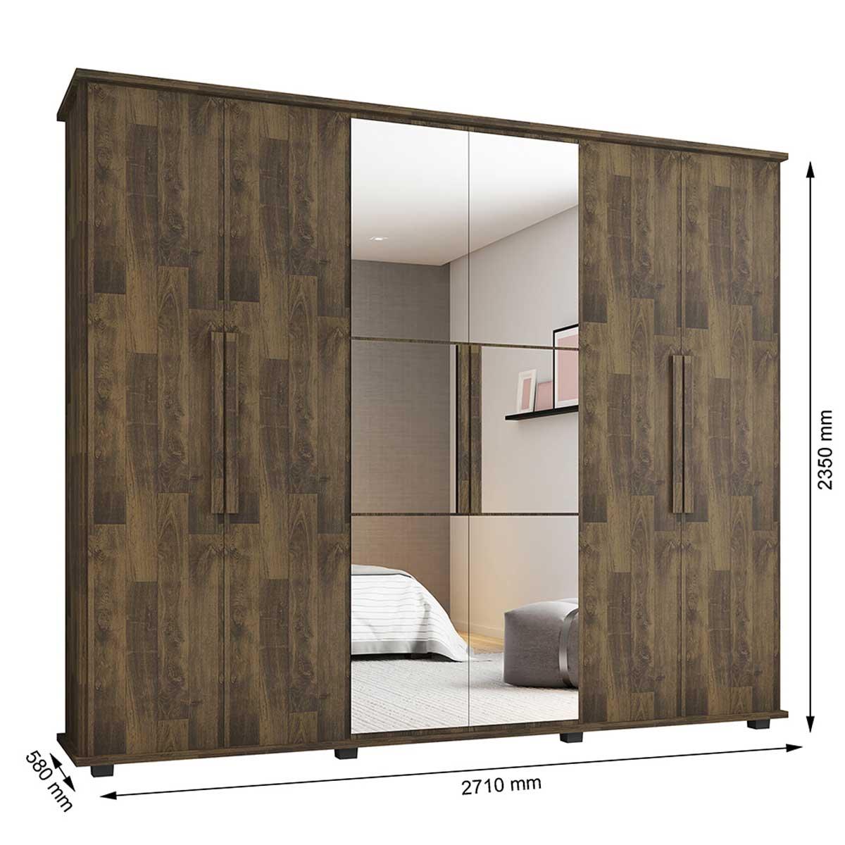 Guarda-Roupa Casal com Espelho 6 Portas 4 Gavetas Canadá Amadeirado - RV Móveis