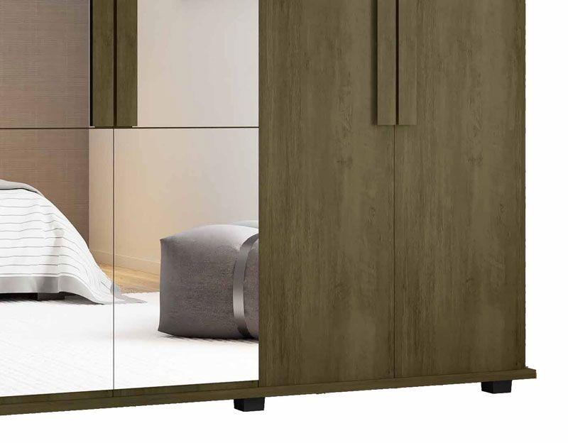 Guarda-Roupa Casal com Espelho 6 Portas 4 Gavetas Canadá Imbuia - RV Móveis